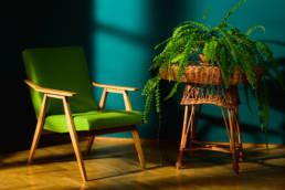 zielony modernistyczny fotel vintage z paprotką
